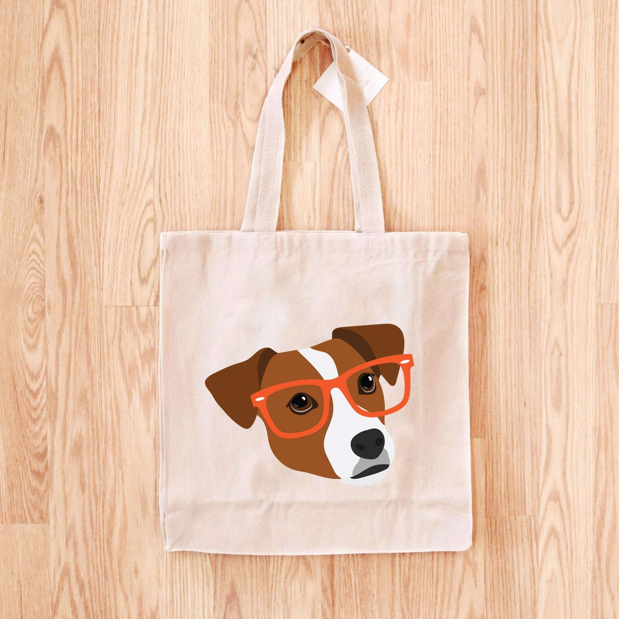 Jack Russell Terrier with Glasses Tote Bag