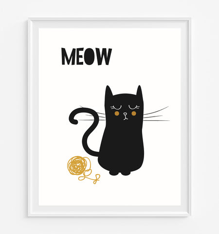 Kitty with Ball of Yarn Art Print