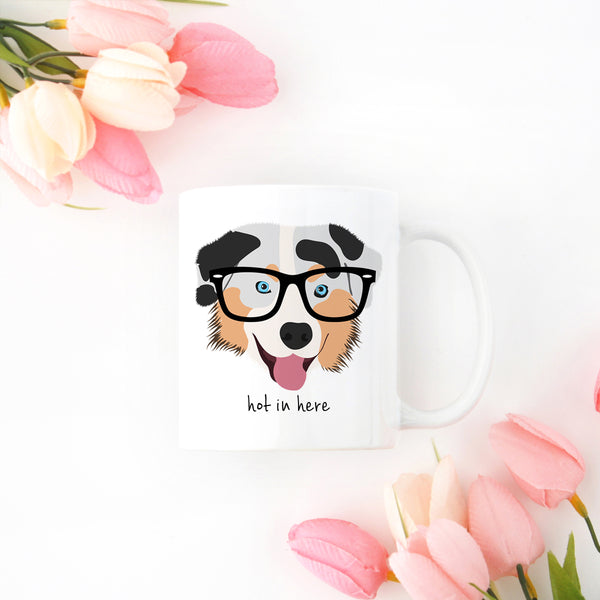 Australian Shepherd with Glasses Mug