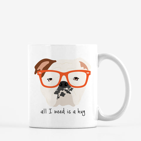English Bulldog with Glasses Mug