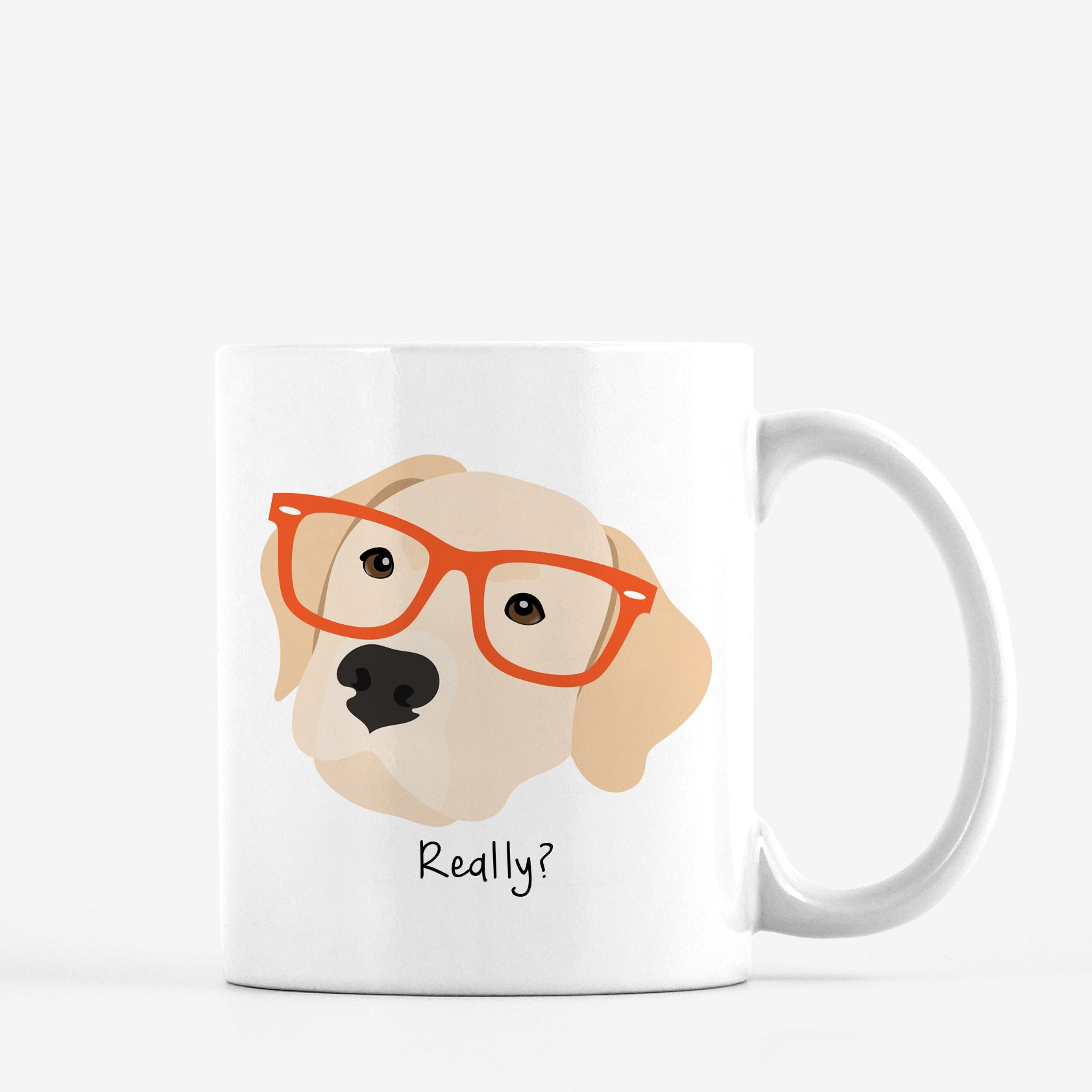 Labrador Retriever (yellow) with Glasses Mug
