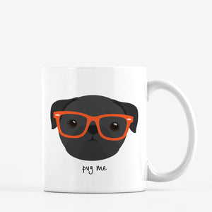 Pug (black) with Glasses Mug