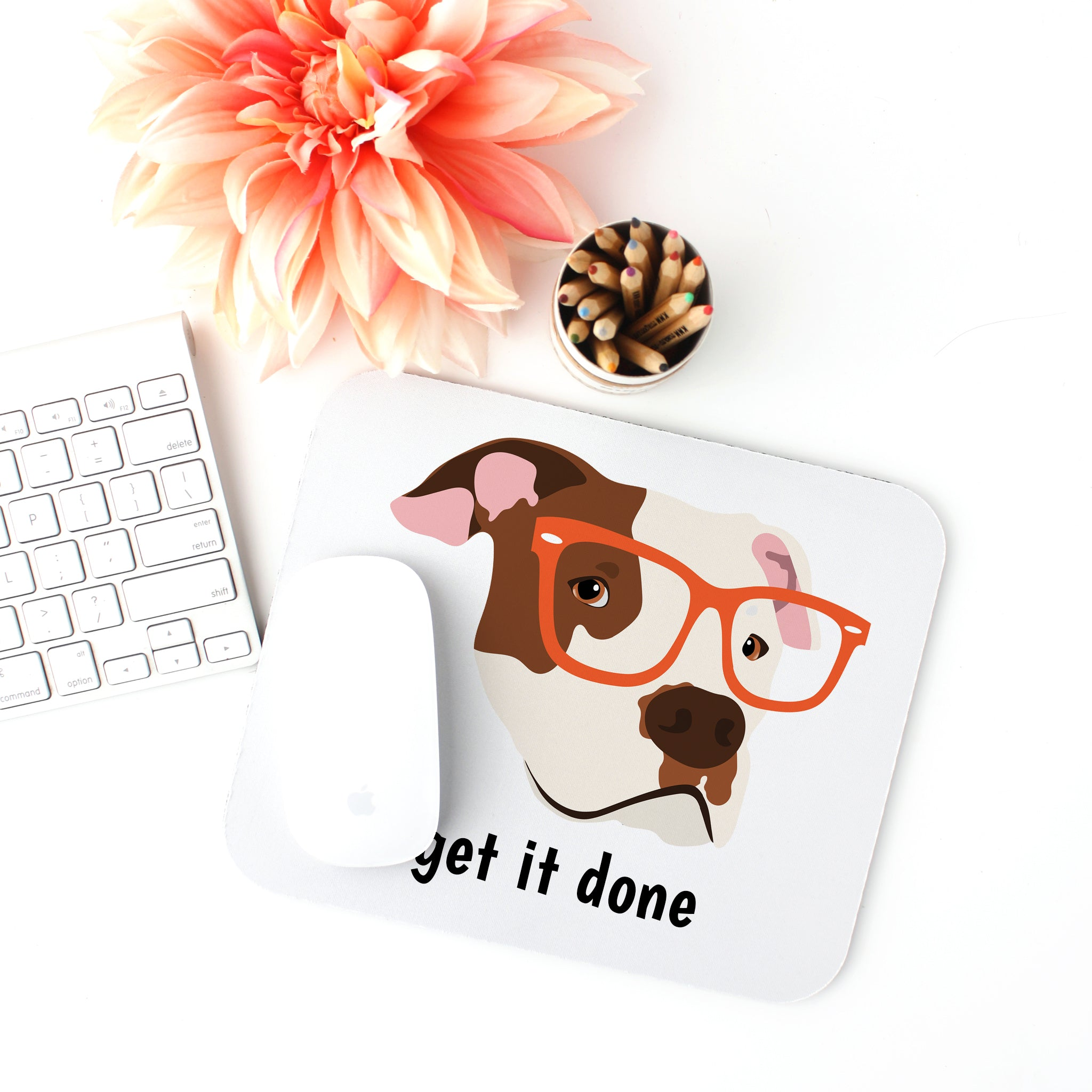 Pit Bull with Glasses Mouse Pad
