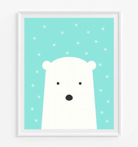 Polar Bear with Snowflakes Art Print