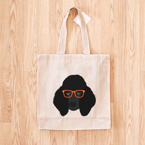 Poodle with Glasses Tote Bag