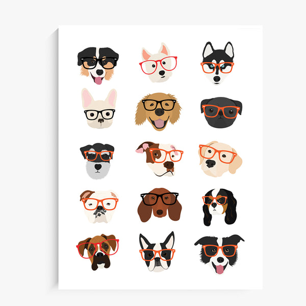 Dogs with Glasses Art Print