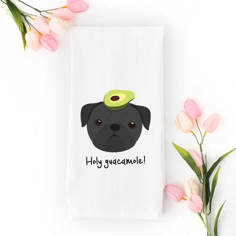 Pug with Avocado Tea Towel