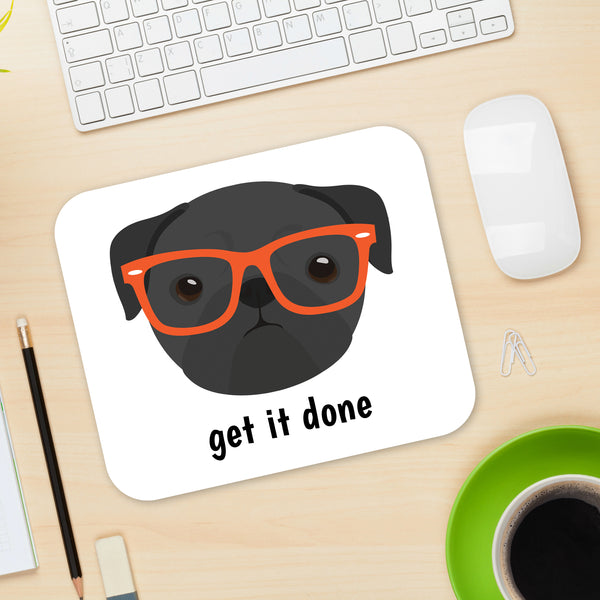 Pug with Glasses Mouse Pad