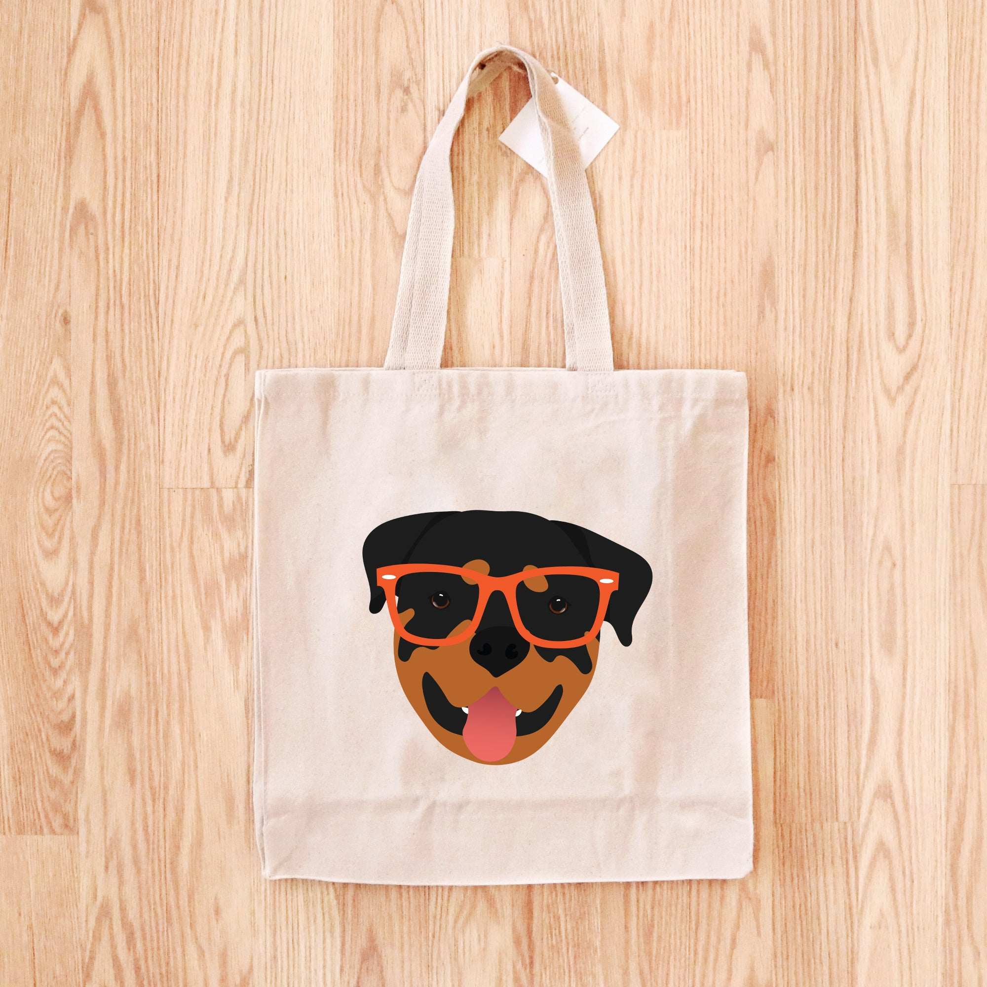 Rottweiler with Glasses Tote Bag