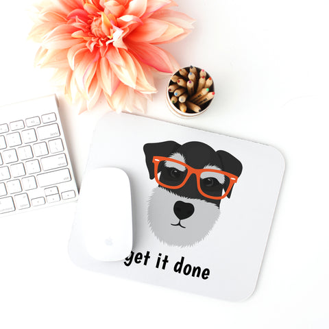 Schnauzer with Glasses Mouse Pad
