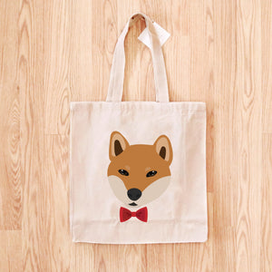 Shiba Inu with Bow Tie Tote Bag
