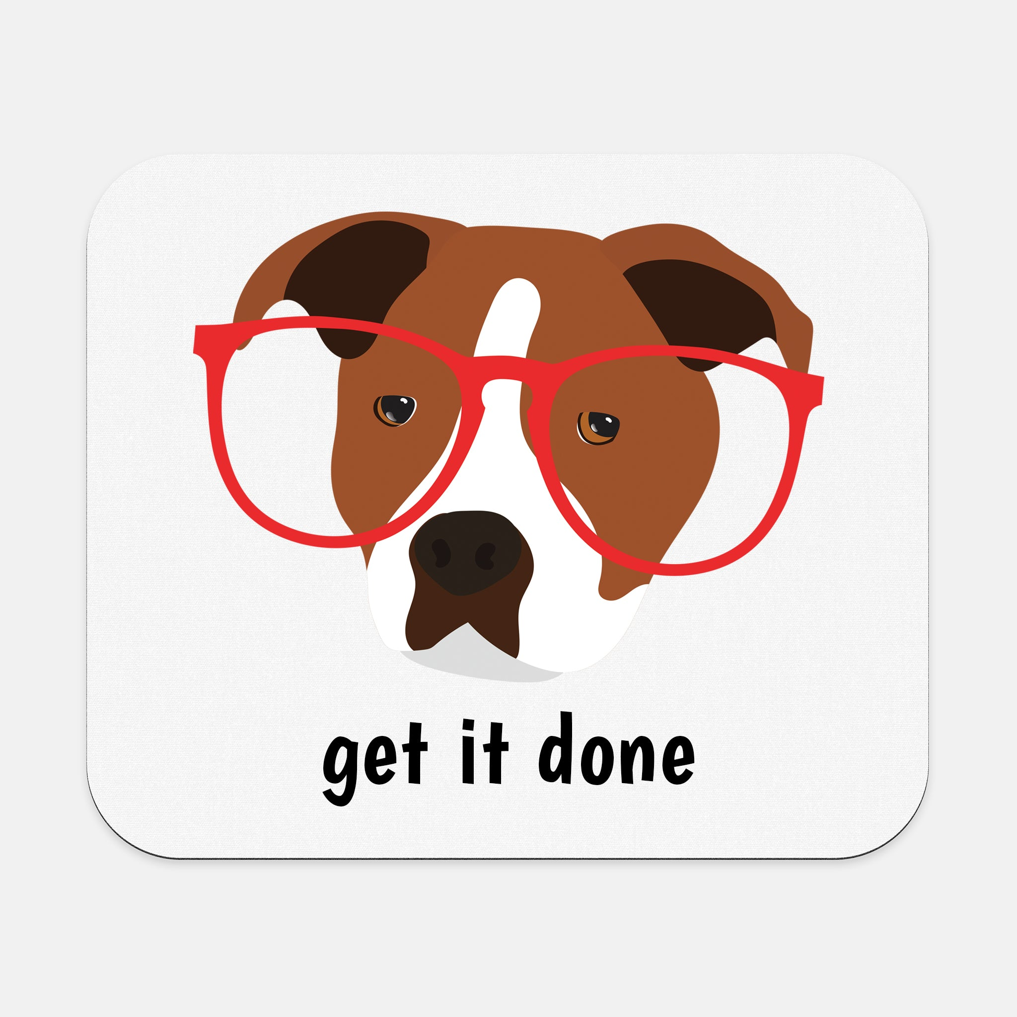 Staffordshire Bull Terrier with Glasses Mouse Pad
