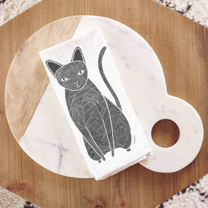 Black Cat Tea Towel