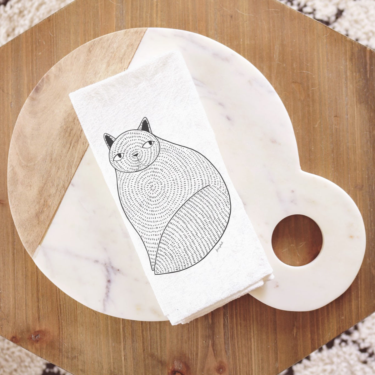 Fat Cat Tea Towel