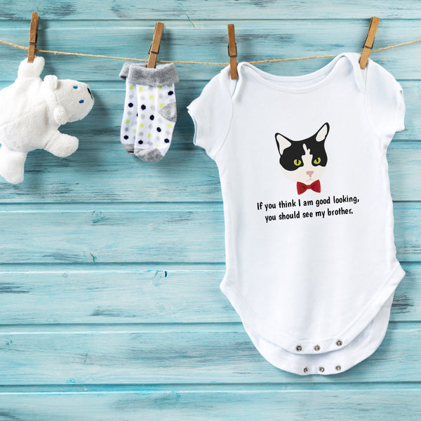 Personalized Tuxedo Cat with Bow Tie Baby Bodysuit