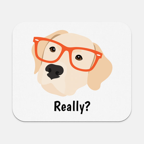 Yellow Labrador with Glasses Mouse Pad