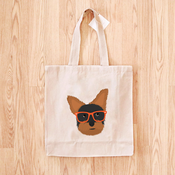 Yorkie with Glasses Tote Bag