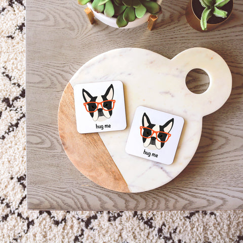 Boston Terrier with Glasses Coasters