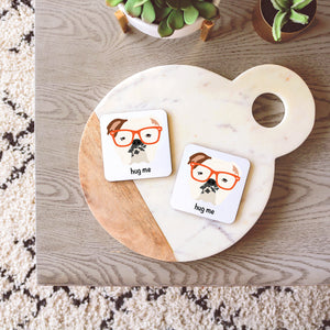 English Bulldog with Glasses Coasters