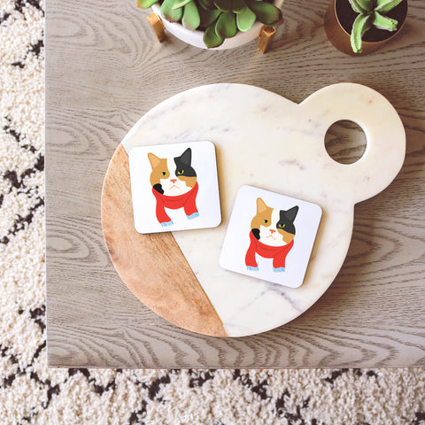 Calico Cat with Scarf Coasters