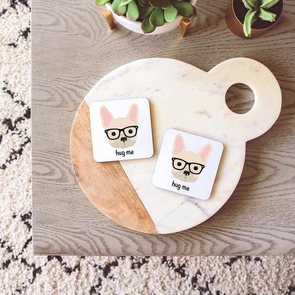 French Bulldog with Glasses Coasters