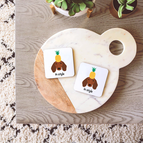 Dachshund with Pineapple Coasters