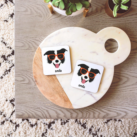 Border Collie with Glasses Coasters