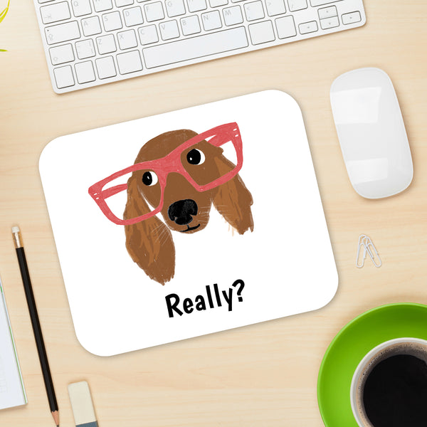 Daschund with Glasses Mouse Pad