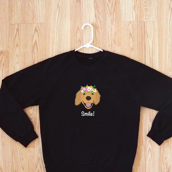 Golden Retriever with Flower Crown Women's Sweatshirt