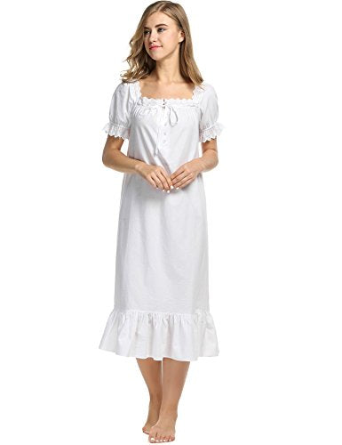 Avidlove Womens Cotton Victorian Vintage Short Sleeve Martha Nightgown Sleepwear
