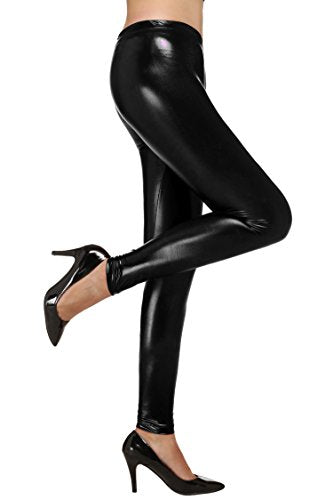 Avidlove Women Leggings Shining Pencil Pants Synthetic Leather Trousers Thin