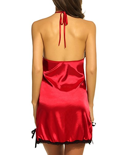 Avidlove Women Lingerie Halter Stretch Satin Sleepwear Patchwork Lace Chemises