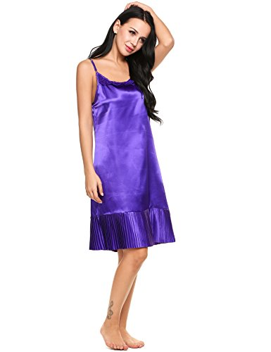 Avidlove Womens Elegant Satin Ful Slip Nightie Silky Chemise Solid Pleated Hem Nightgown