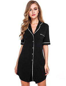 Avidlove Womens Nightshirt Short Sleeves Pajama Top Boyfriend Shirt Dress Sleepwear