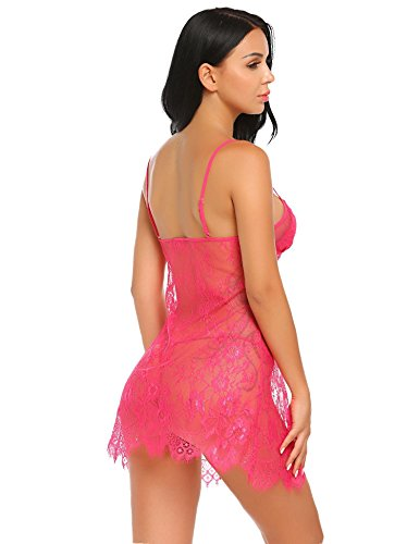 Avidlove Sexy Lingerie For Women Eyelash Babydoll Lace Chemise Sheer Nightwear