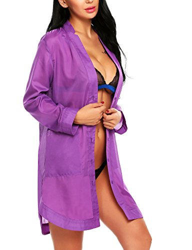 Avidlove Women's Button-Front Nightshirts Long Sleeve Pajama Top Dress Sheer Bikini Cover