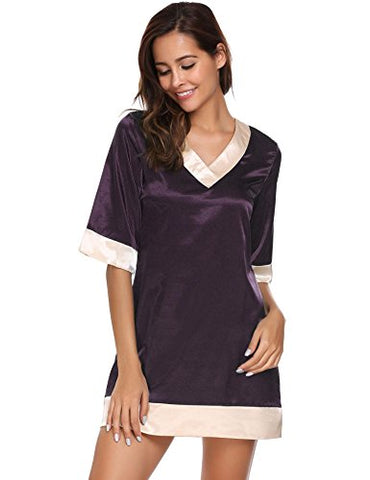 Avidlove Womens Short-Sleeve V-Neck Nightie Sleep Shirt Viscose Sleepwear Nightshirt