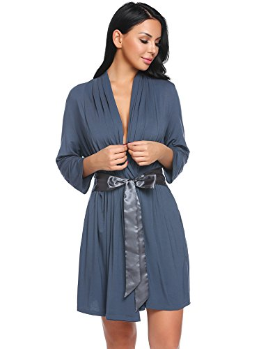 Avidlove Womens Three-Quarter Sleeves Bathrobe Kimono Robe Comfort Sleepwear