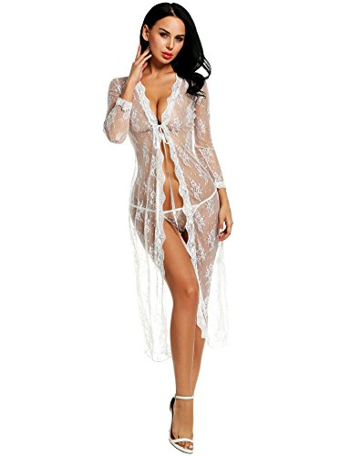 5f437db0082 Avidlove Sexy Lingerie Gown Long Lace Nighdress See Through Nightgown Cover  ups S-XXL