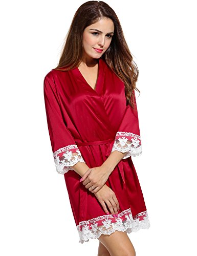Avidlove Womens Satin Kimono Lingerie Robes Short Lounge Bridesmaids Lace bathrobe