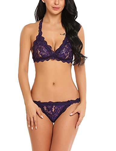 Avidlove Lingerie for Women Peekaboo Sexy Bra and Panty Set Lace Babydoll Underwear