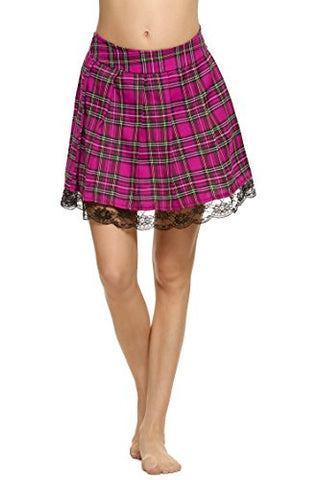 Avidlove Women Schoolgirl Skirt Cosplay Plaid Lace-Trimmed Dress