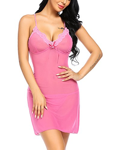 Avidlove Lace Mesh Lingerie Sexy Babydoll Chemise Backless Sleepwear