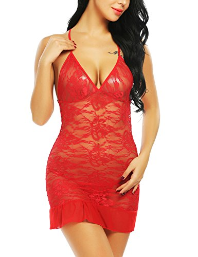 Avidlove Women Lingerie Lace Babydoll Chemises Backless Deep V Sleepwear