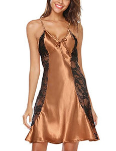 Avidlove Women's Sexy Lace Satin Pajamas Lingerie Silk Nightgown
