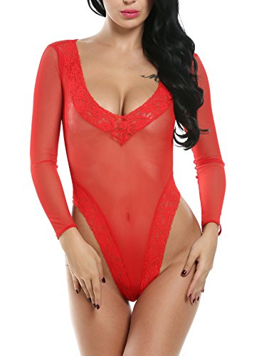 Avidlove Sexy Lingerie Lace Hollow out Bandage Strapped Long Sleeve Bikini