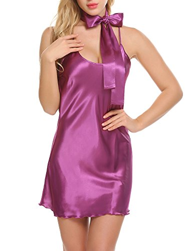 Avidlove Lingerie Women's Satin Babydoll Chemises Sexy Sleepwear Lounge Dress