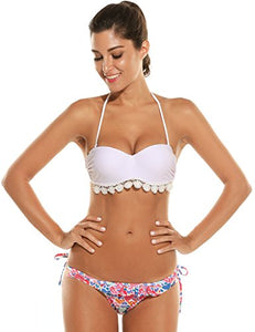 Avidlove 2017 Women's Sexy Strappy Floral Push Up 2PCS White Bikini Set Swimsuit