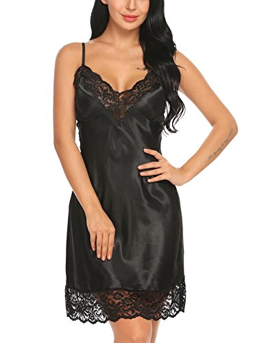 Avidlove Lingerie Women's Sexy Sleepwear Lace Trim Satin Chemise Nightgown