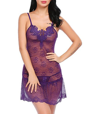 Avidlove Womens Sexy Sheer Babydoll Lingerie Set Floral Lace Nightgown Sleepwear